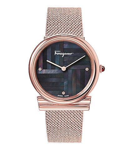 Salvatore Ferragamo Gancino Collection Rose Gold Mesh Watch