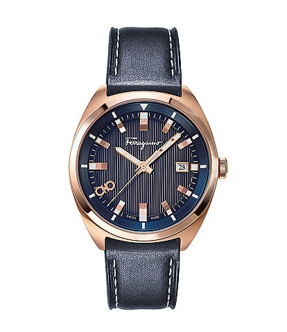 Salvatore Ferragamo Men's Heritage Blue Leather Watch