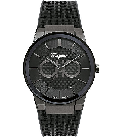 Salvatore Ferragamo Men's Sapphire Black Rubber Watch