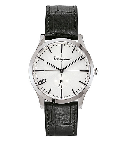 Salvatore Ferragamo Slim Black Calf Leather Watch