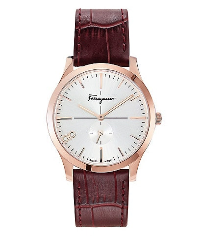 Salvatore Ferragamo Slim Red Calf Leather Watch