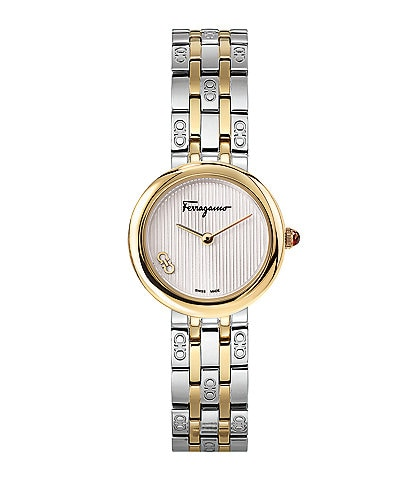 Salvatore Ferragamo Swiss Forever Two Tone Stainless Steel Bracelet Watch