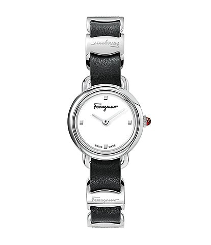 Salvatore Ferragamo Women's Varina Black Leather Watch