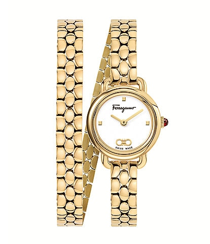 Salvatore Ferragamo Women's Varina Gold Stainless Steel Double Wrap Watch