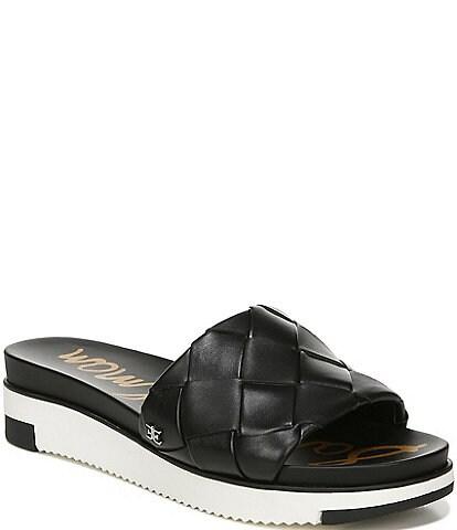 Sam Edelman Adaley Woven Leather Platform Slide Sandals