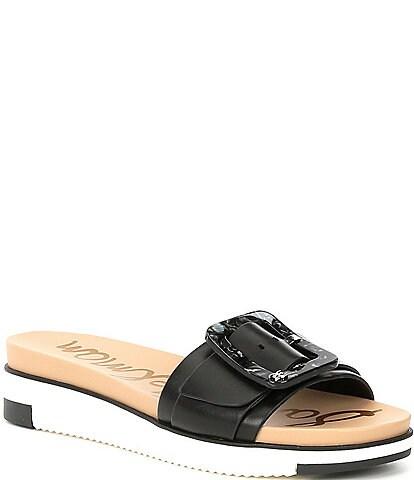 Sam Edelman Ariane Leather Buckle Detail Platform Slide Sandals