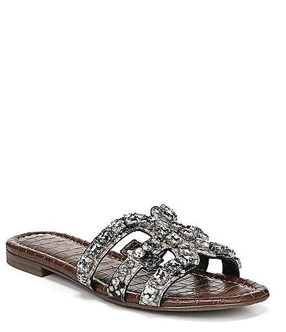 Sam Edelman Bay 8 Snake Print Rhinestone Embellished Sandals