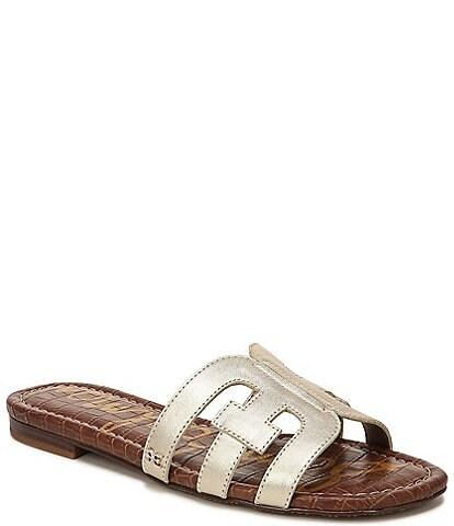 Sam Edelman Bay Metallic Double E Leather Sandals