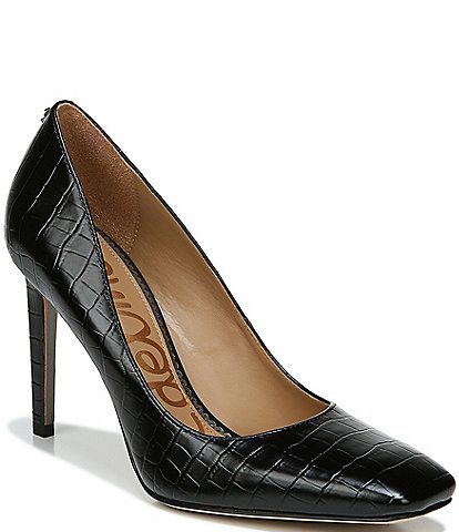 Sam Edelman Beth Square Toe Croc Embossed Leather Pumps