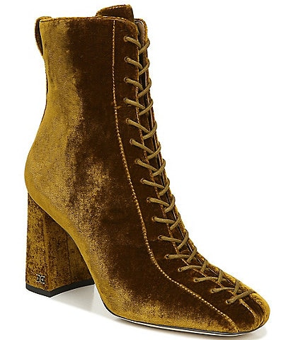 Sam Edelman Carney Lace Up Velvet Booties