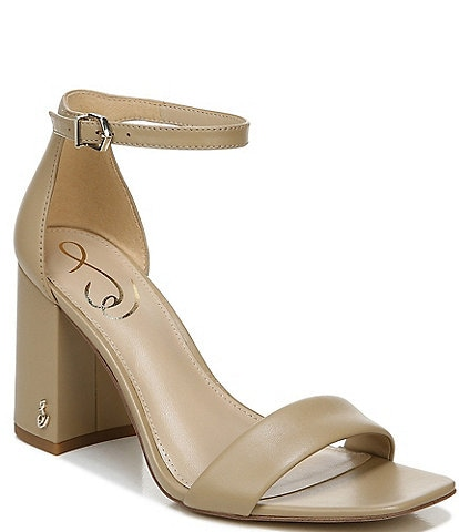 Sam Edelman Daniella Leather Block Heel Square Toe Dress Sandals