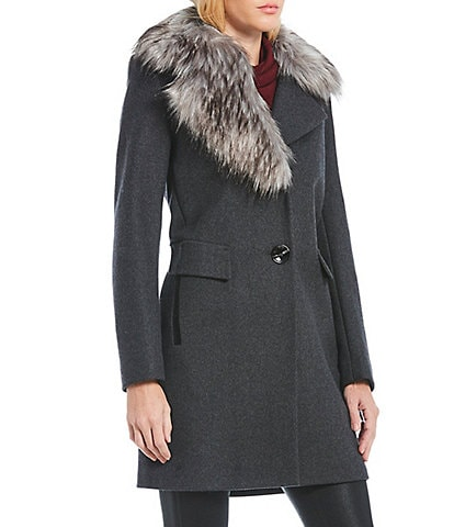 Sam Edelman Faux Fur Asymmetrical Collar Single Breasted Coat