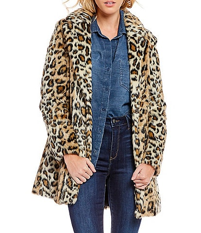 Sam Edelman Faux Fur Leopard Walker Coat