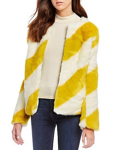 Sam Edelman Faux Fur Stripe Chubby Jacket