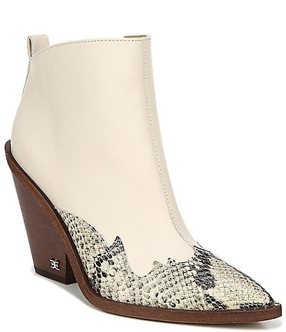 Sam Edelman Ilah Leather and Snake Print Leather Pointed Toe Western Booties