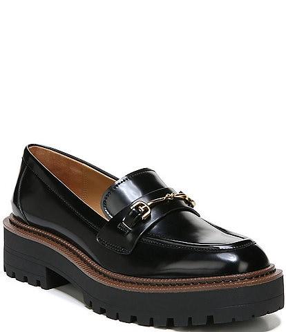 Sam Edelman Laurs Leather Bit Buckle Lug Sole Loafers