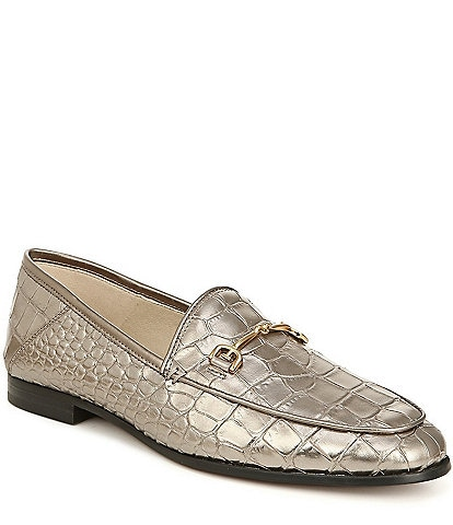 Sam Edelman Loraine Croco Leather Bit Embellishment Loafers