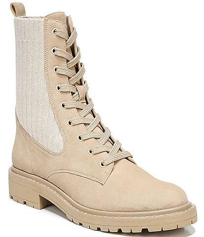 Sam Edelman Lydell Suede and Ribbed Knit Lug Sole Combat Booties