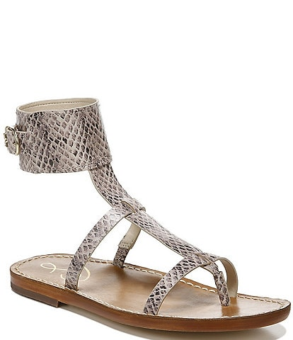 Sam Edelman Mollie Snake Printed Leather Ankle Band Thong Sandals