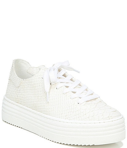 Sam Edelman Pippy Snake Textured Leather Platform Sneakers