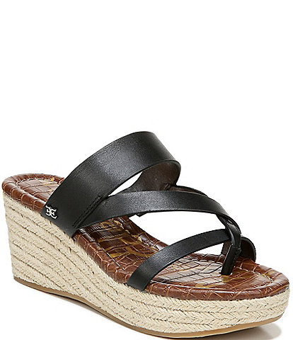 Sam Edelman Raleigh Leather Strappy Jute Wrapped Wedge Sandals