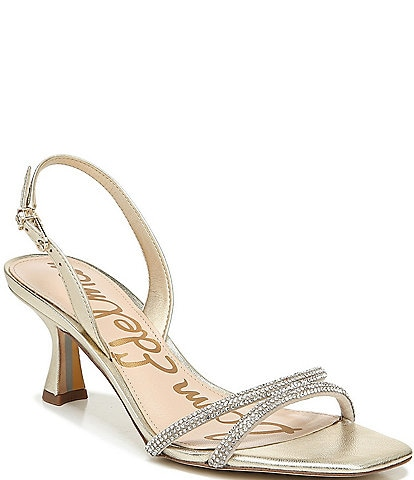 Sam Edelman Ronan Metallic Leather Crystal Detailing Dress Sandals