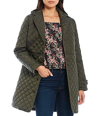 Sam Edelman Single Breasted Water Resistant Notch Lapel Long Sleeve Diamond Quilted Reefer Coat