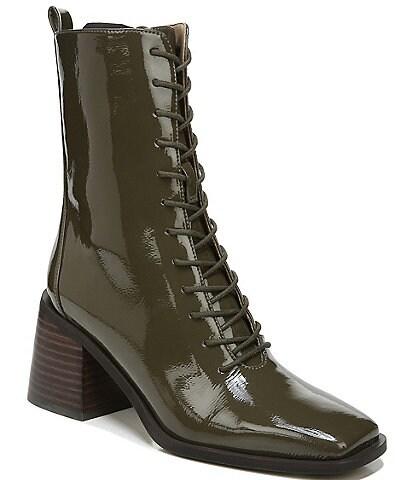 Sam Edelman Westie Lace-Up Patent Square Toe Booties