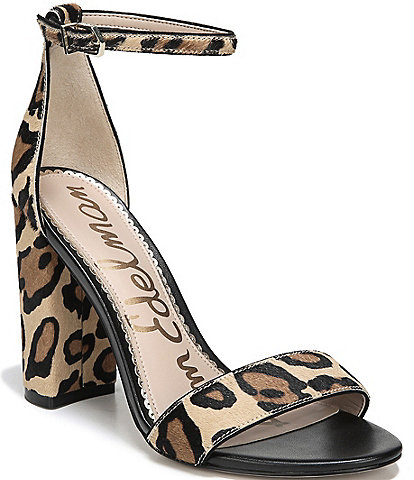 Sam Edelman Yaro Leopard Print Brahama Hair Ankle Strap Block Heel Dress Sandals