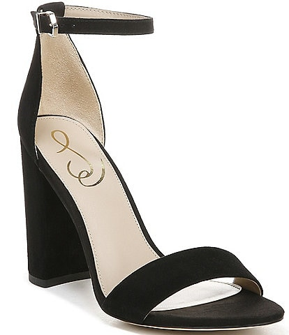 Sam Edelman Yaro Suede Ankle Strap Block Heel Dress Sandals