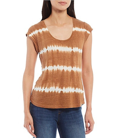Sanctuary Alma Tie-Dye Print Scoop Neck Cotton Blend Tee
