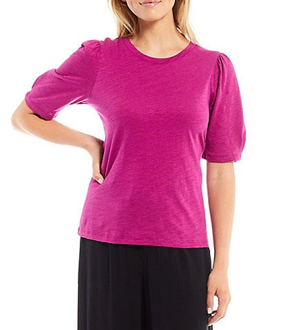 Sanctuary Booming Crew Neck Short Puff Sleeve Knit Tee