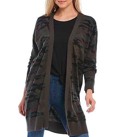 Sanctuary Camo Print Long Sleeve Open Front Cardigan