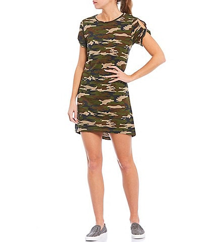 Sanctuary Camo T-Shirt Short Sleeve Knit Dress