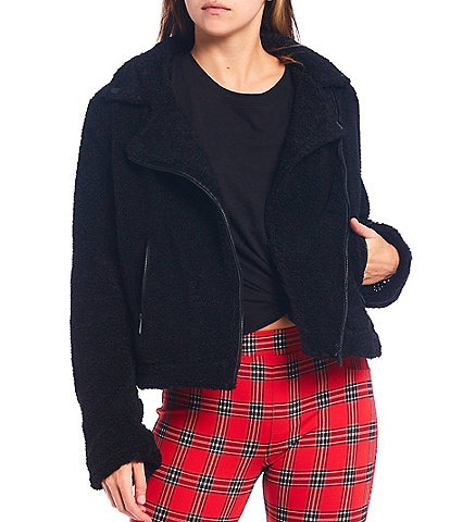 Sanctuary Classic Moto Faux Fur Full Zip Jacket