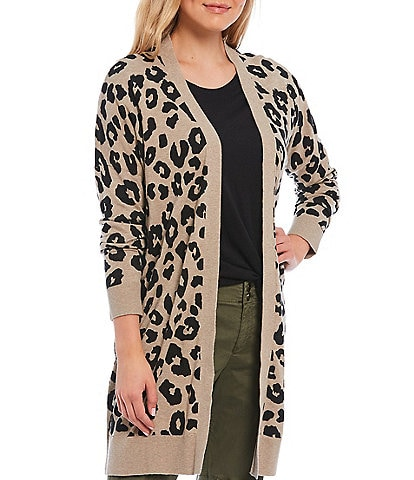 Sanctuary Dark Exploded Spots Leopard Print Long Sleeve Open Front Cardigan