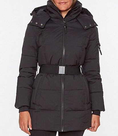 Sanctuary Detachable Hood Belted Puffer Coat