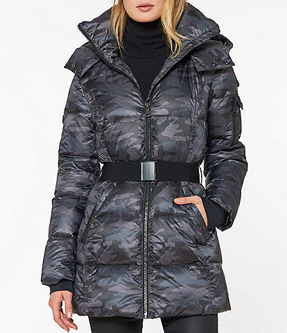 Sanctuary Detachable Hood Camouflage Print Belted Puffer Coat