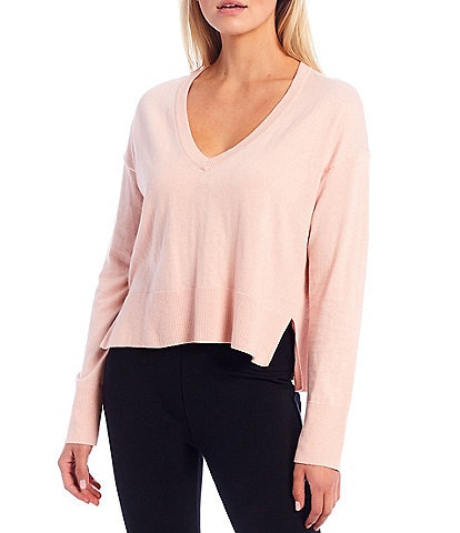 Sanctuary Essential Knit V-Neck Long Sleeve Lounge Top