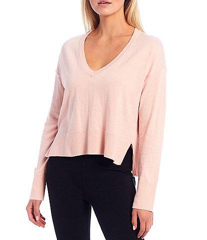 Sanctuary Essential Knit V-Neck Long Sleeve Lounge Top