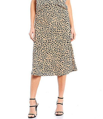Sanctuary Everyday Animal Print A-Line Midi Skirt