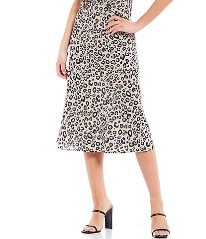 Sanctuary Everyday Cheetah Print Bias Cut Midi Skirt