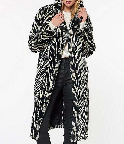 Sanctuary Faux Fur Zebra Print Walker Coat