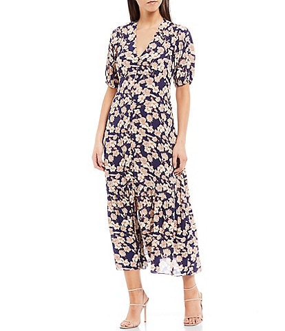 Sanctuary Florence Floral Button Front V-Neck Puff Sleeve Maxi Dress