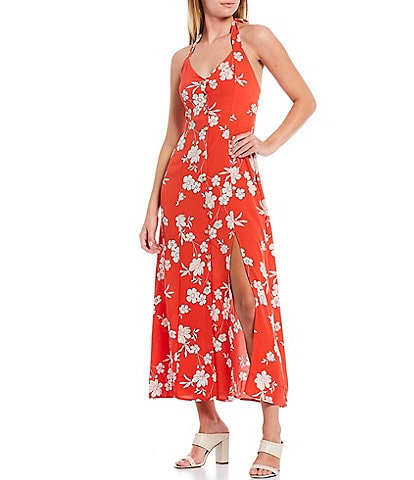 Sanctuary Garden Floral Halter Neck Sleeveless Front Slit Midi Dress