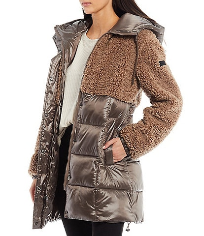 Sanctuary Hooded Mixed Media Sherpa Hooded Drawcord Puffer Coat