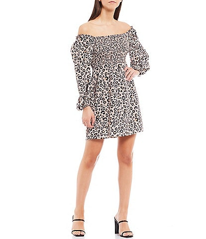 Sanctuary Marina Animal Print Smocked Off-the-Shoulder Puff Sleeve Mini Dress