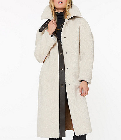 Sanctuary Maxi Sherpa & Faux Leather Trim Coat