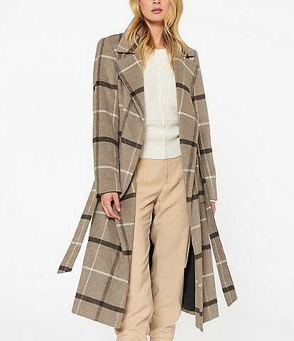 Sanctuary Notch Collar Plaid Wool Blend Wrap Coat