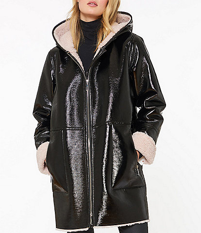 Sanctuary Patent Leather & Faux Shearling Lined Hooded Coat